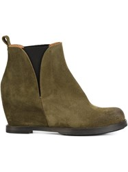 Buttero Wedge Ankle Boots Green