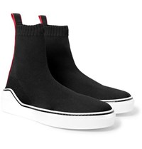Givenchy Grosgrain Trimmed Stretch Knit High Top Sneakers Black