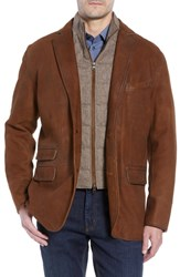 Flynt Big And Tall Classic Fit Distressed Leather Hybrid Coat Brown