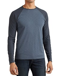 John Varvatos Star Usa Long Sleeve Raglan Baseball Tee Blue Steel