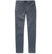 Loro Piana Madison Slim Fit Stretch Cotton Trousers Blue
