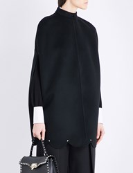 Valentino Scalloped Wool And Cashmere Blend Cape Black