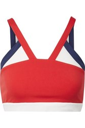 Perfect Moment Mesh Trimmed Stretch Sports Bra Red
