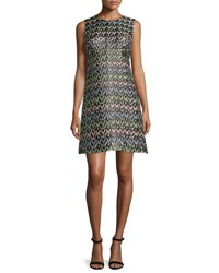 Milly A Line Chevron Brocade Mini Dress Multi Multi Colors