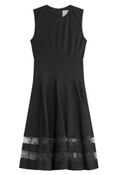 Jason Wu Flared Sheath With Lace Paneling Black