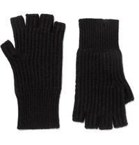 Rag And Bone Kaden Ribbed Cashmere Fingerless Gloves Black