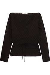 Carven Embroidered Cotton Blend Chiffon Top Black