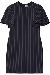 Victoria Beckham Pinstriped Silk Satin Trimmed Wool Blend Mini Dress Navy
