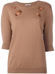Nina Ricci Floral Embellished Knit Blouse Brown