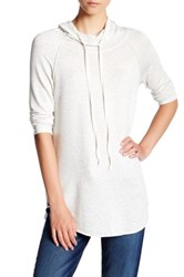 Hip Funnel Neck Heather Pullover Gray