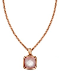 Bronzarte 18K Rose Gold Over Bronze Necklace Rose Quartz And Pink Mother Of Pearl Pendant 8 3 8 Ct. T.W.