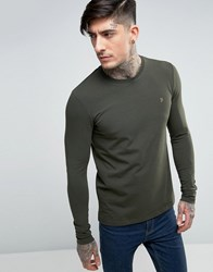 Farah Southall Super Slim Muscle Fit Long Sleeve T Shirt Green Green