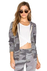 Monrow Oversized Camo Zip Up Hoodie Gray