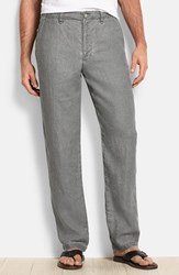 Men's Big And Tall Tommy Bahama 'Summerland Keys' Flat Front Linen Pants Fog Grey