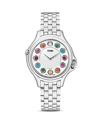 Fendi Crazy Carats Stainless Steel Rotating Gemstones Watch 33Mm Silver Multi