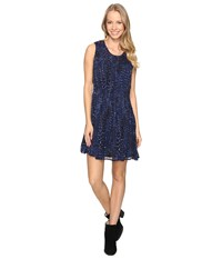 Lucky Brand Geo Print Dress Blue Multi Women's Dress