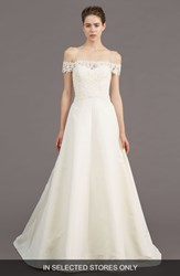 Amsale Tilden Lace And Silk Blend Gown