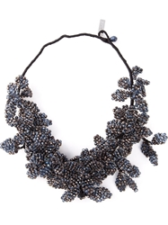 Night Market 'Deep Flower' Bib Necklace Metallic