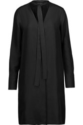 Rag And Bone Florence Pussy Bow Silk Satin Mini Dress Black