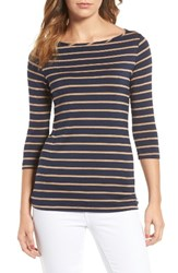 Amour Vert Women's Francoise Stretch Jersey Top Navy Camel Stripe