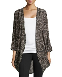 Romeo And Juliet Couture Printed Woven Cocoon Kimono Black Taupe