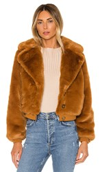 House Of Harlow 1960 X Revolve Kalida Faux Fur Jacket In Cognac. Toffee
