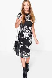 Boohoo Floral Printed Bodycon Midi Dress Black