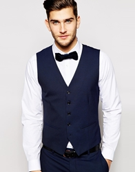 Selected Tuxedo Waistcoat With Jacquard In Skinny Fit Navy