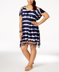 Raviya Plus Size Tie Dye Fringe Cover Up Tunic Women's Swimsuit