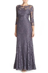 Petite Women's Adrianna Papell Illusion Yoke Lace Gown Grey Silver