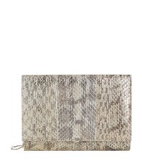 Elie Saab Snakeskin And Leather Chain Wallet Female Grey
