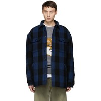 R 13 R13 Black And Blue Check Workshirt Jacket