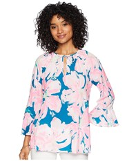 Lilly Pulitzer Willa Flounce Sleeve Top Tidal Wave Pans Garden Clothing Multi
