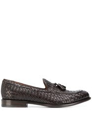 Tagliatore Woven Tassel Loafers Brown