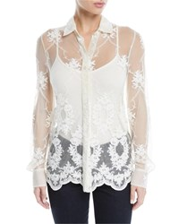 Brock Collection Baylee Button Front Long Sleeve Floral Embroidered Tulle Shirt Ivory