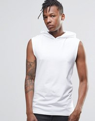 Asos Muscle Sleeveless T Shirt With Hood In White White