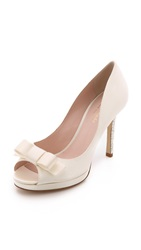 Kate Spade Felisha Bow Peep Toe Pumps Ivory