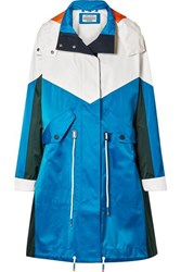 Tory Sport Oversized Hooded Color Block Shell Jacket Bright Blue