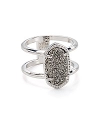 Kendra Scott Elyse Cocktail Ring Rhodium Platinum Drusy