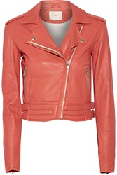 Iro Zefir Cropped Leather Jacket Orange