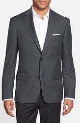 Nordstrom Classic Fit Check Wool Sport Coat Blue Brown