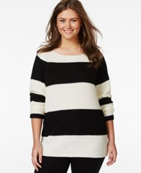 Extra Touch Plus Size Striped Zipper Back Sweater Black Ivory