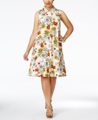 Love Squared Plus Size Floral Print Retro Shirtdress Yellow