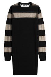 Mcq By Alexander Mcqueen Wool Solid And Sheer Stripe Sweater Dress Black