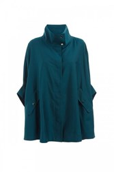 Wtr Journey Wool Blend Trench Cape Imperial Green