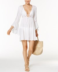 Raviya Lace Trim Bell Sleeve Cover Up Women's Swimsuit White