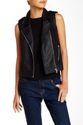 Abs By Allen Schwartz Faux Leather Moto Vest Black