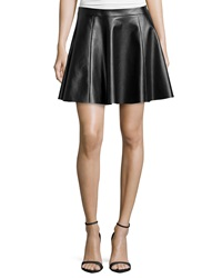 Vakko Faux Leather Circle Skirt Black