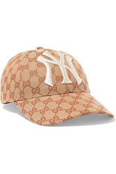 Gucci Embroidered Coated Canvas Baseball Cap Brown