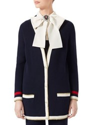 Gucci Long Sleeve Knit Cardigan Blue White Red